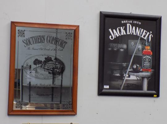 Southern Comfort framed advertising mirror and Jack Daniels framed picture