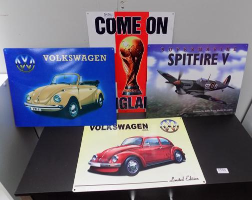 Selection of tin signs, incl. 'Spitfire'