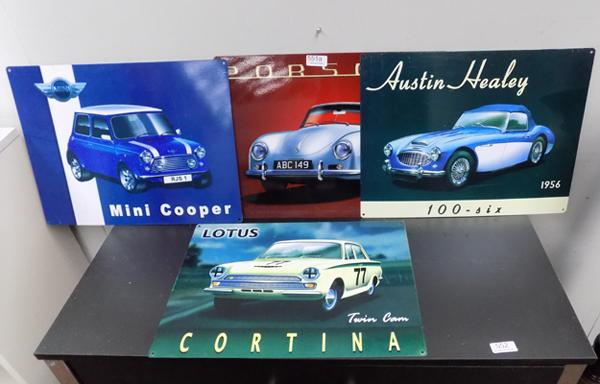 Selection of tin signs, incl. Mini Cooper