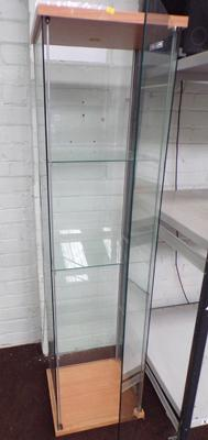 Tall glass display cabinet, three shelves