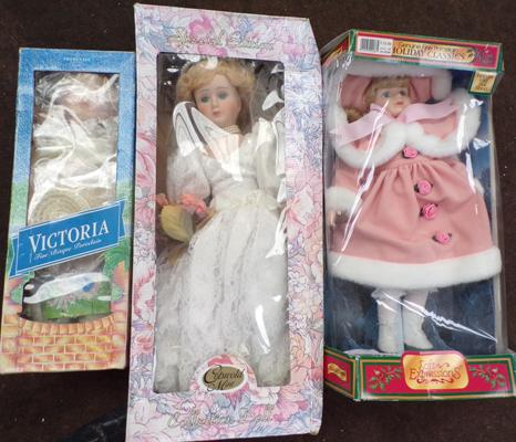 Three boxed dolls, incl. Victoria fine bisque porcelain