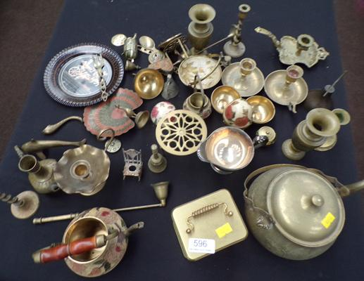Selection of brass, incl. candlesticks, piano etc...