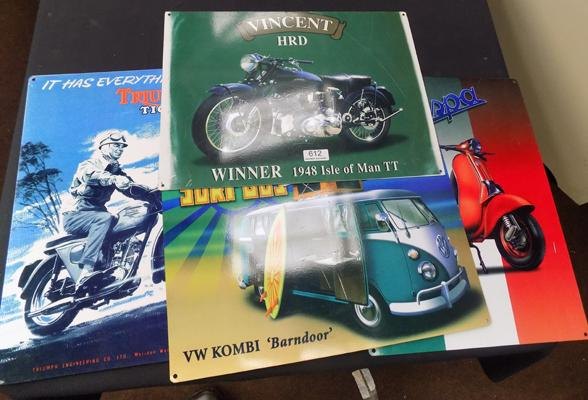 Selection of tin signs, incl. Vincent HRD
