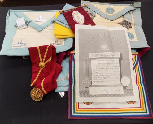 Large collection of masonic items, incl. aprons & medal