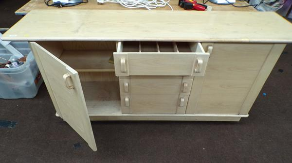 Kitchen storage unit, 2 cupboards & four drawers, incl. cutlery insert