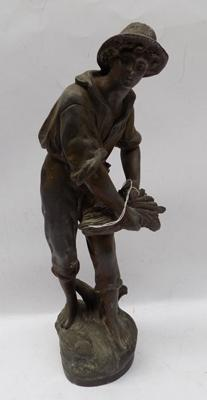 Heavy antique lead figure - approx. 14""