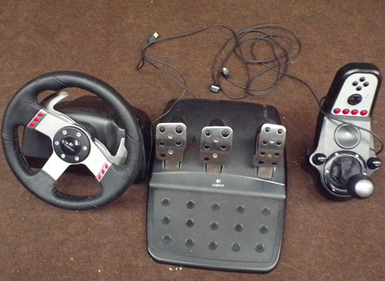 Logitech steering wheel, pedals and gear stick/ switches