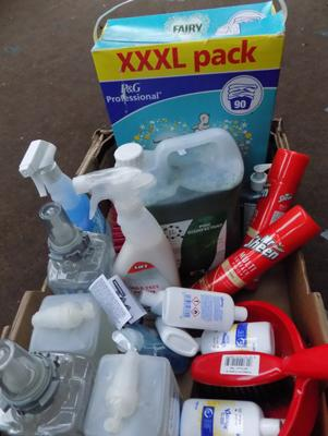 Box of mixed cleaning products
