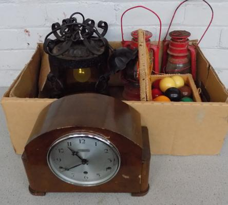 Box of vintage collectables, incl. oil Lamps