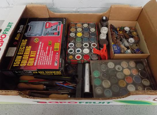 Box of model tools, paints & soldering kit