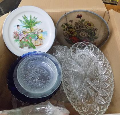 Selection of ceramics & glassware + punch bowl