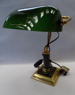 Vintage bankers green glass and brass light on marble base