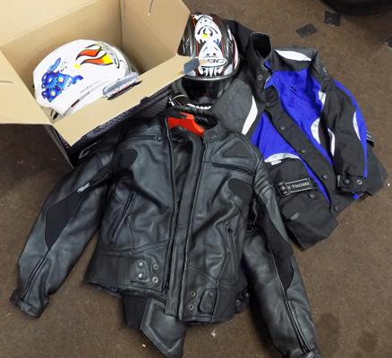 Motor bike leather suit, jacket and two helmets - as seen