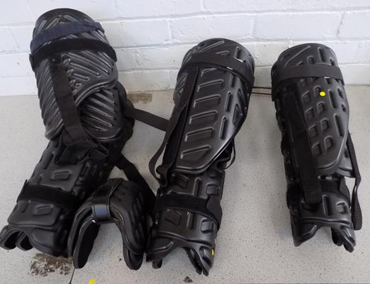 3 sets of leg armour suitable for self defence/ paintballing etc.
