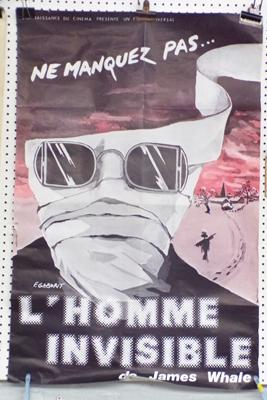 L'Homme Invisable' (The Invisible Man) original film poster from 1933 (some damage)