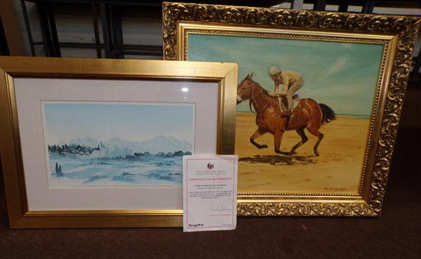 Limited Edition print, 'View in South of France', incl. certificate & painting of Red Rum by M B Savage