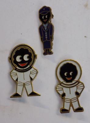 3 x vintage golly badges