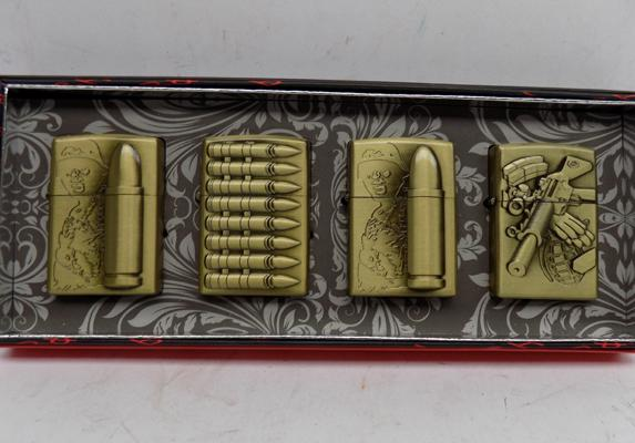 Set of 4 boxed lighters - gun ammo themed