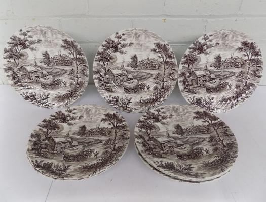 Set of 8 Staffordshire ironstone plates - farmhouse pattern