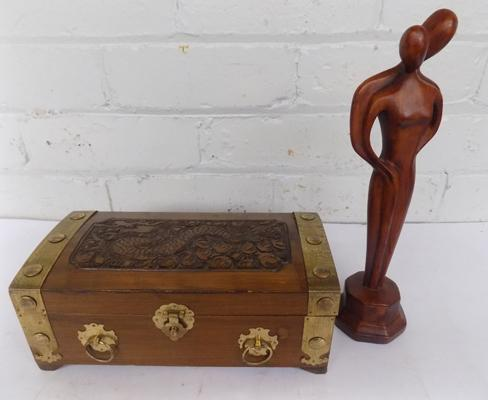 Wooden carved jewellery box with brass fittings & wooden figure