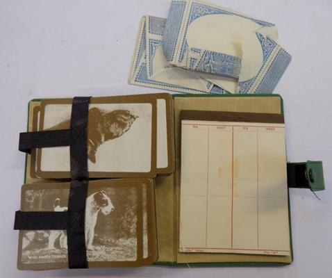 Vintage Bridge set with dog playing cards & packets