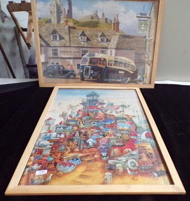 2x framed jigsaw pictures approx 29 inches x 21 inches (loose frame on 1)