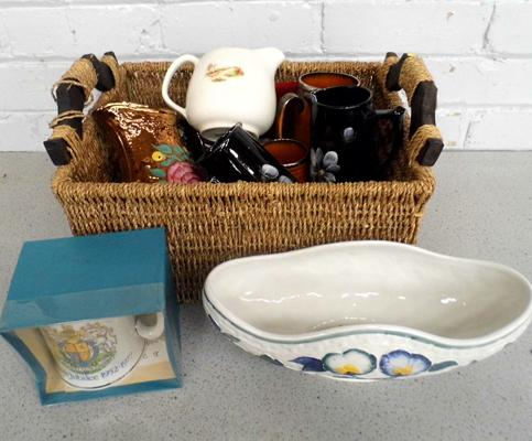 Basket of mixed pottery inc jugs & commemorative items