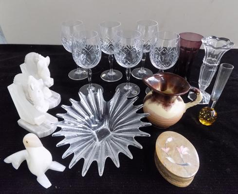 6 Bohemia wine glasses and assorted ornaments