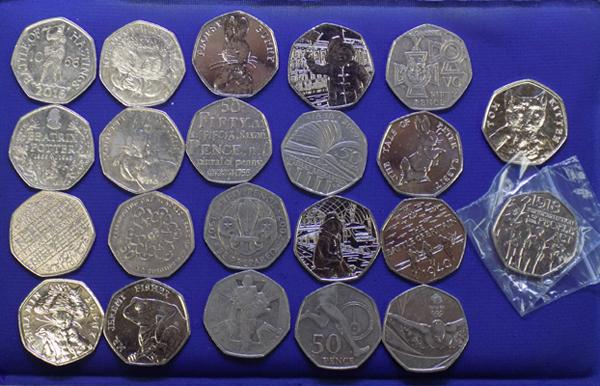 Collection of collectable 50p coins incl. Paddington, Beatrix Potter, Olympics etc.