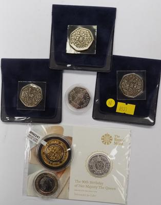 Selection of proof coins inc HRH 90th birthday