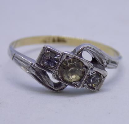 9ct gold art deco ring with silver mounted trilogy rings size O