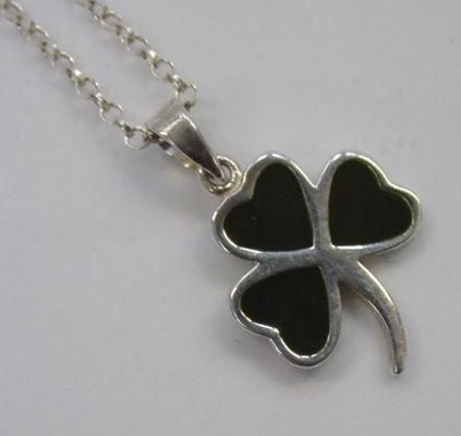 Silver & enamel clover pendant on silver chain