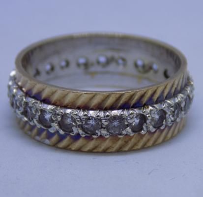 9ct yellow and white gold full eternity ring size Q1/2