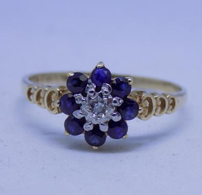 9ct gold diamond and sapphire cluster ring size N1/2