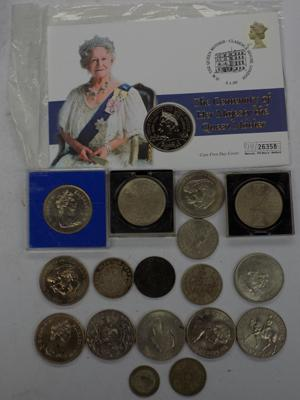 Commemorative coins incl. Queen Mother £5 coin, Jubilee Crowns and half crowns - Churchill etc.