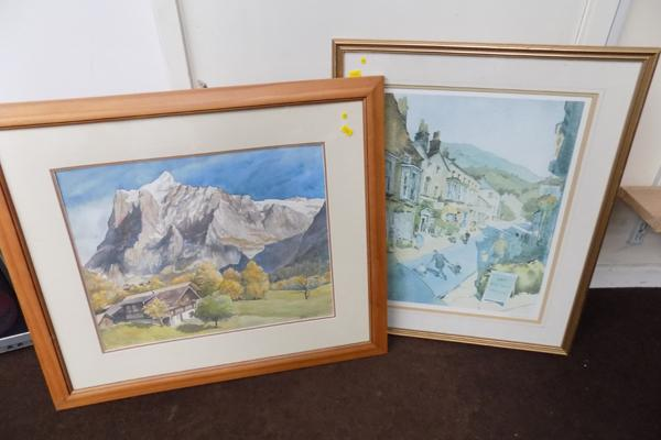 Framed watercolour (Hastor signed) and ltd. edition print (136/250) by G.Walliams. 21.5 inches x 26 inches & 28 inches x 24 inches