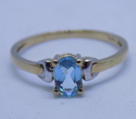 9ct gold blue topaz ring size L