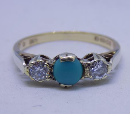 9ct gold vintage turquoise trilogy ring size N