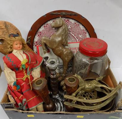 Box of mixed collectables inc vintage sweet jar