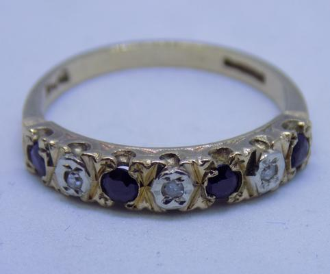 9ct gold sapphire and diamond half eternity ring size M