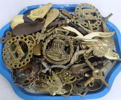 Tray of brassware
