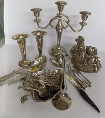 Large selection of silver plate & EPNS cutlery + other plated items