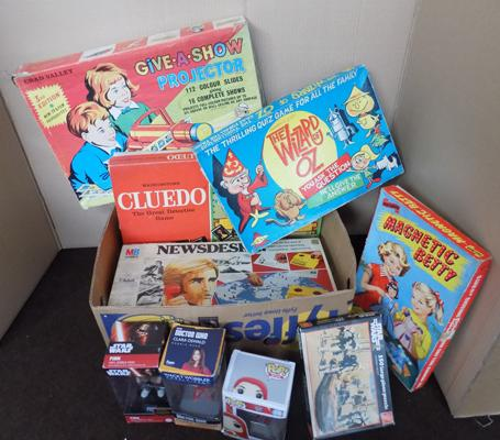 Large box of vintage 1950's/ 60's boxed games and boxed 30 Space Explorer set
