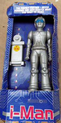 I-Man robot figure in box, possibly vintage