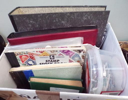 Box of stamp albums incl. First Day covers, stock books and loose items
