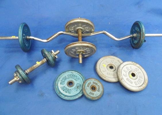 Curl bar with weights & dumbbells