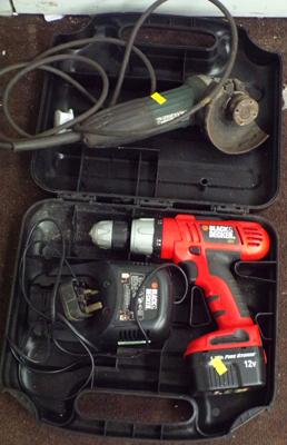 Black & Decker cordless drill & charger in case & Makita angle grinder