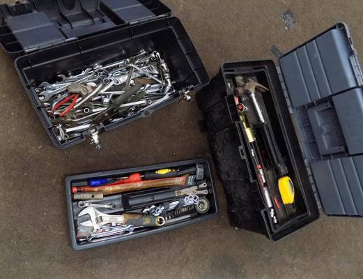 Two boxes of tools, eg spanners