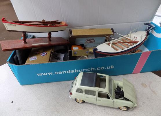 Tinplate large Renault 4L car and boat models etc