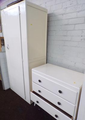 Tall painted cupboard & set of three drawers